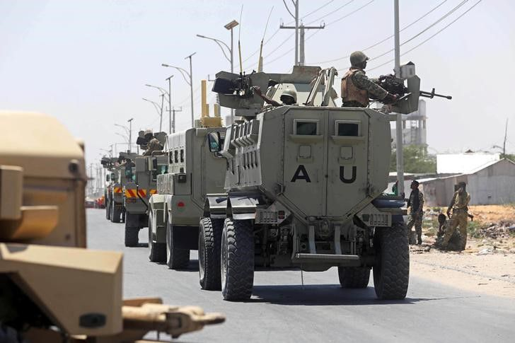 African Union Mission in Somalia (AMISOM) peacekeepers travel on armoured vehicle as they leave the Jaale Siad Military academy after being replaced by the Somali military in Mogadishu, Somalia. February 28, 2019. REUTERS/Feisal Omar