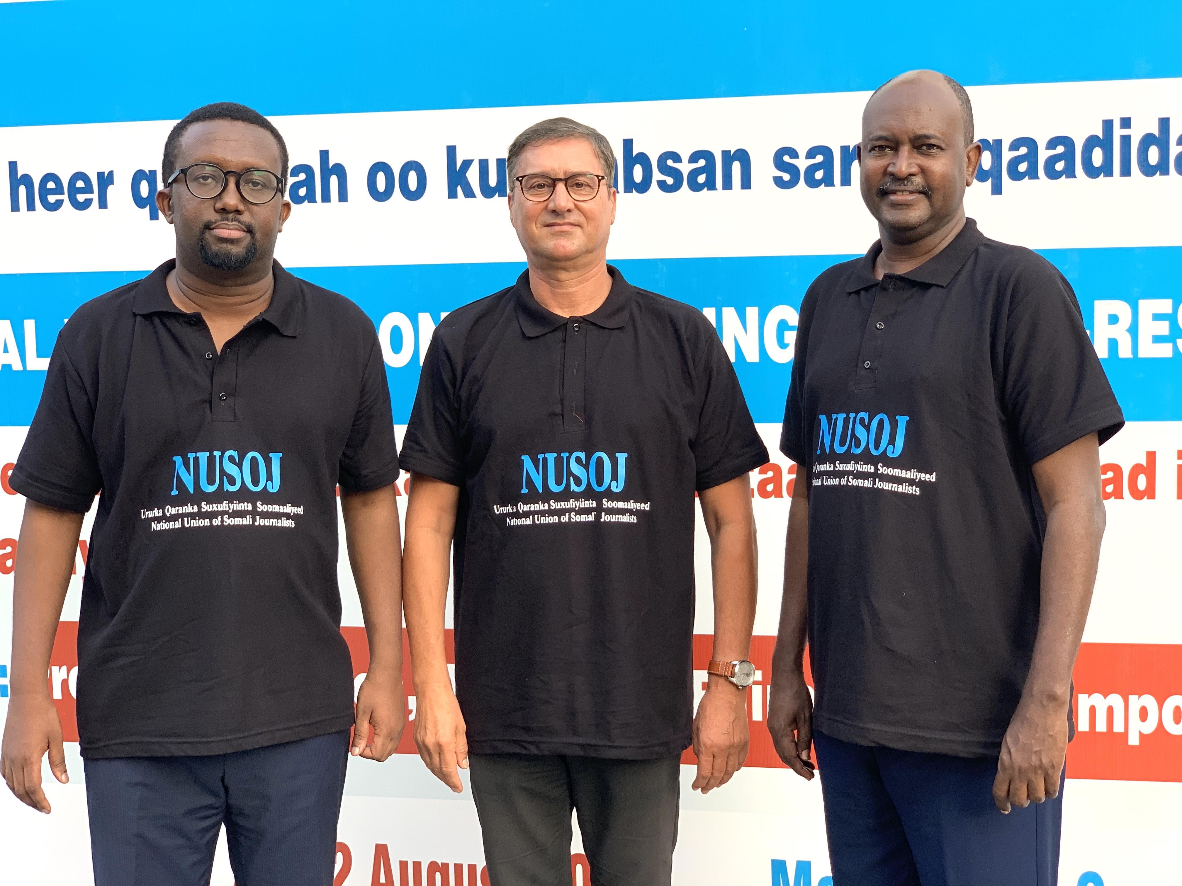 Omar Faruk (NUSOJ), Youness Mjahed (IFJ), Sadiq Ibrahim (FAJ)