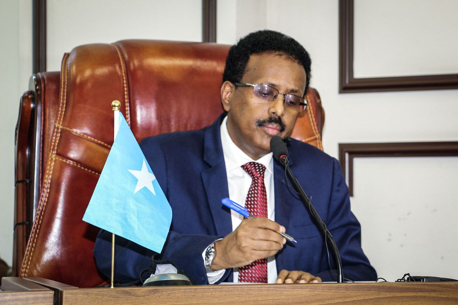 Somalia's President Mohamed Abdullahi Mohamed, commonly known by his nickname of Farmajo, attends the special assembly for abandoning the two-year extension of his presidential term at Villa Hargeisa in Mogadishu on May 1. AFP VIA GETTY IMAGES