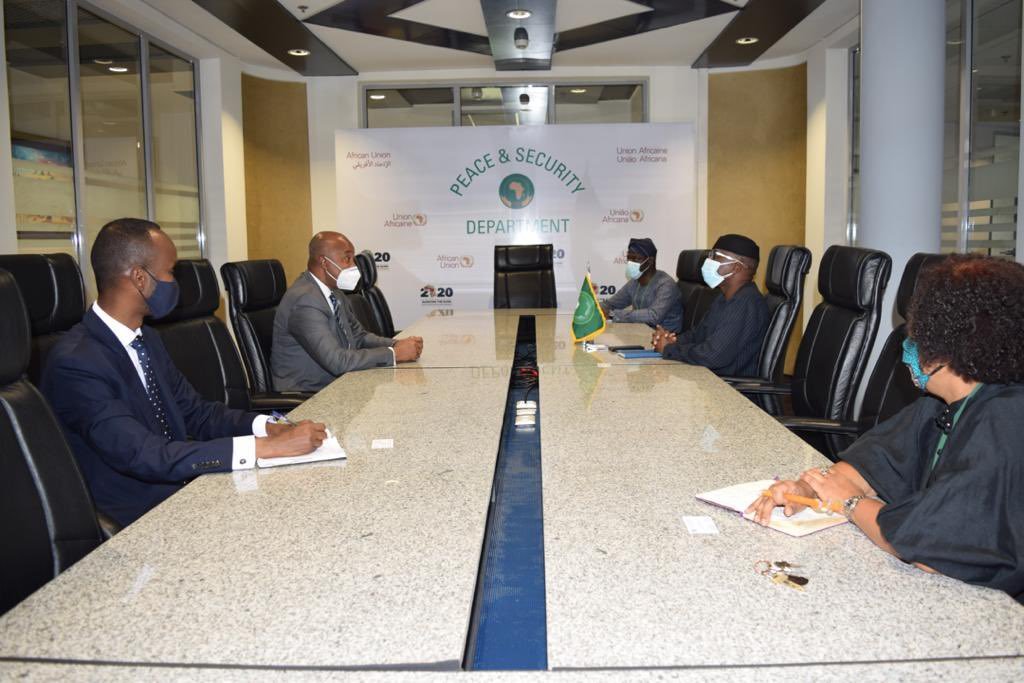 Somali Foreign Minister Mohamed Abdirizak meets in Addis Ababa on May 20 with Amb. Bankole Adeoye, African Union Commissioner for Political Affairs, Peace and Security, to discuss security and political issues.