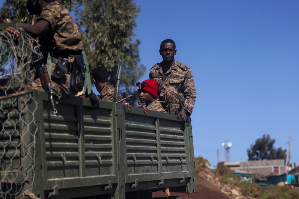 Ethiopian soldiers ride on a truck near the town of Adigrat, Tigray region, Ethiopia, March 18, 2021. REUTERS/Baz Ratner