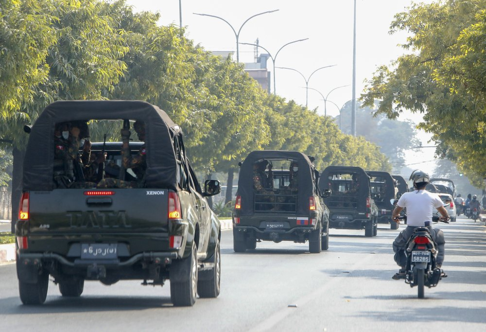 A convoy of army vehicles patrol the streets in Mandalay, Myanmar, Wednesday, Feb. 3, 2021. In the early hours of Monday, Feb. 1, 2021, the Myanmar army took over the civilian government of Aung San Suu Kyi in a coup over allegations of fraud in November's elections. (AP Photo)