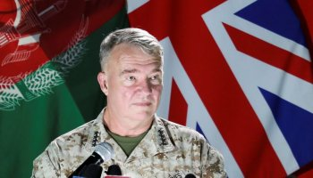 U.S. Marine Corps General Kenneth McKenzie, commander of U.S. Central Command, speaks during a news conference, in Kabul, Afghanistan July 25, 2021. REUTERS/Staff
