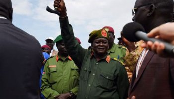 SPLA-IO Chief of General Staff General Simon Gatwech Dual arrives at Juba airport from Pagak on April 25, 2016. [Photo by unknown]