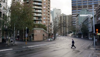 Streets in central Sydney were near deserted on Monday